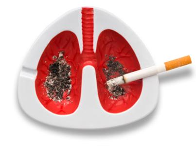 Zigarette im Aschenbecher in Form einer Lunge